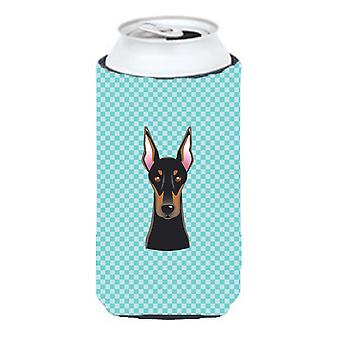 Checkerboard Blue Doberman Tall Boy Beverage Insulator Hugger