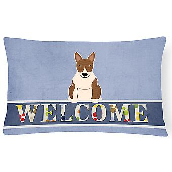 Bull Terrier Brindle Welcome Canvas Fabric Decorative Pillow