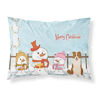 Merry Christmas Carolers Border Collie Red White Fabric Standard Pillowcase