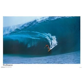 Surfing Teahupoo Poster Poster Print