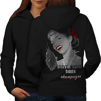 Drink Champagne New Women BlackHoodie Back | Wellcoda