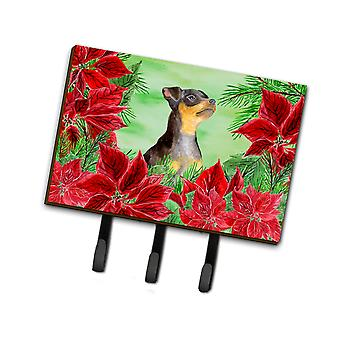 Miniature Pinscher #2 Poinsettas Leash or Key Holder