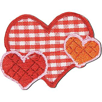 Iron On Appliques Plaid Hearts A001300 265