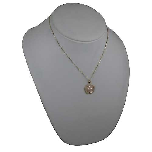 9ct Gold 21mm five sided Sagittarius Zodiac Pendant with a belcher Chain 18 inches