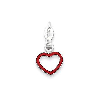 925 Sterling Silver Red Enamel Open Heart Charm Pendant - 18mm