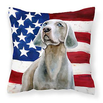Carolines Treasures  BB9674PW1818 Weimaraner Patriotic Fabric Decorative Pillow