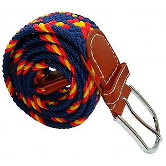 Bassin and Brown Cross Stripe Woven Elasticated Belt - Navy/Red/Yellow
