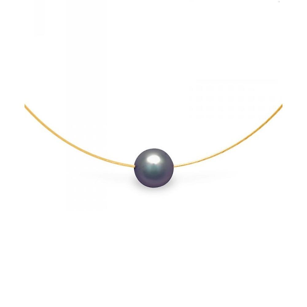 Collier Ras du cou Femme Cable en Or jaune 750 1000 et Perle de Culture noire