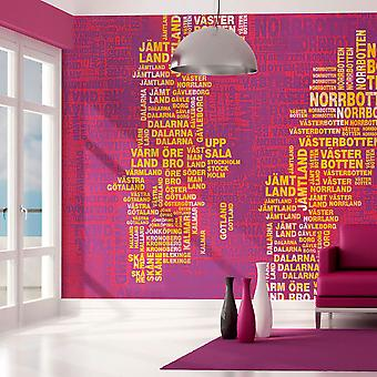 Artgeist Wallpaper Text map of Sweden on pink background (Decoration , Vinyls)
