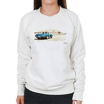 Chevrolet Corvette Stingray Convertible Desert Art White Women's Sweatshirt
