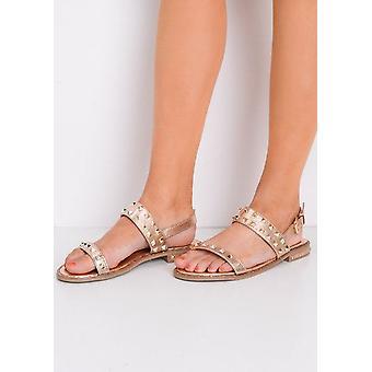 StuddedAnkle Strap Flat Sandals Gold
