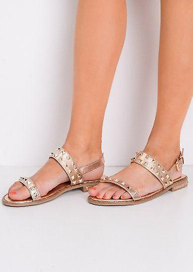 Con borchie caviglia cinturino Sandali piatti oro