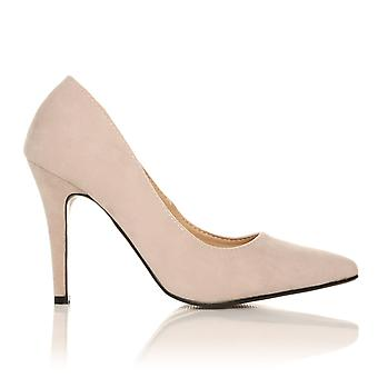 DARCY Nude Faux Suede Stilleto High Heel Pointed Court Shoes