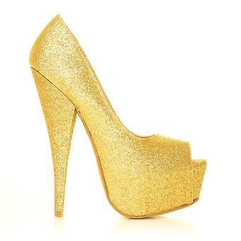 PEEPTOE Gold Glitter Stiletto Very High Heel Platform Peep Toe Shoes