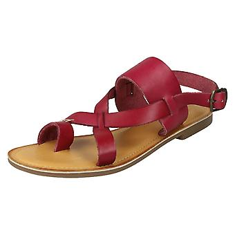 Ladies Leather Collection Toeloop Sandals F00127 - Red Leather - UK Size 3 - EU Size 36 - US Size 5