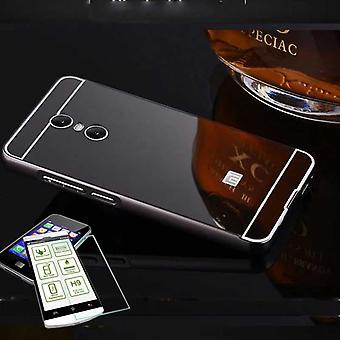 Mirror / Mirror aluminium bumper 2-piece black + 0.3 mm H9 tempered glass for Xiaomi Redmi 5