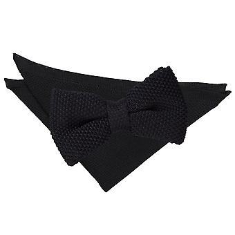 Black Knitted Bow Tie & Pocket Square Set