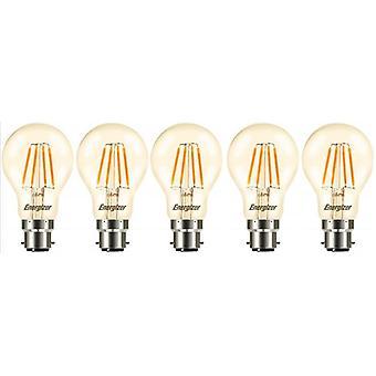 5 x Energizer GLS globo acabamento ouro antigo LED filamento de poupança de energia lâmpada B22 BC encaixe de baioneta Cap [classe energética A +]