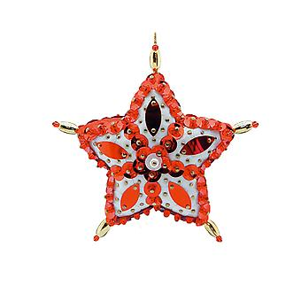 SALE - Pinflair 2 Red Star Bauble Christmas Ornament Sequin & Pin Craft Kit