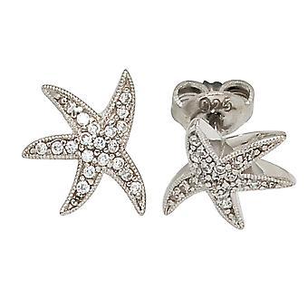 STARFISH Stud Earrings rhodium-plated 925 Sterling zilveren oorbellen met Zirkonia