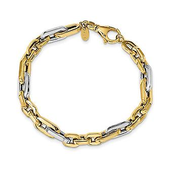 Mens Two Tone 14K White and Yellow Gold Link Bracelet in Polished 14K Yellow Gold (7.75 Inches)
