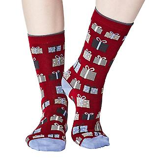 The Gift women's super-soft bamboo crew socks in claret | By Thought