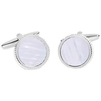 David Van Hagen glanzende cirkel getextureerde rand moeder van Pearl centrum Manchetknopen - wit/zilver