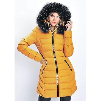 Quilted Faux Fur Hooded Belted Longline Puffer Coat Mustard Yellow