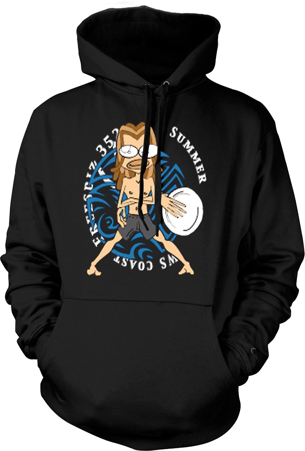 Mens Hoodie - Surf Frisbee Beach Tribal Design