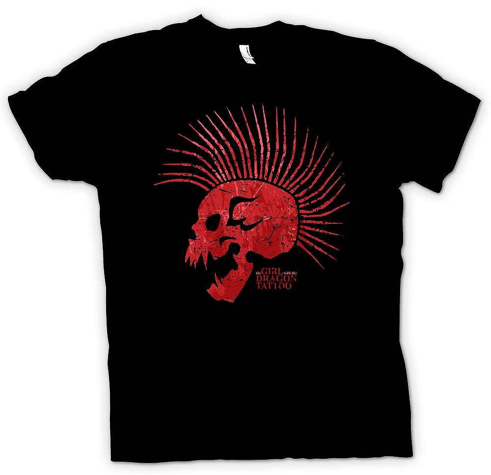 Herr T-shirt-flickan med Dragon Tattoo inspirerade skalle