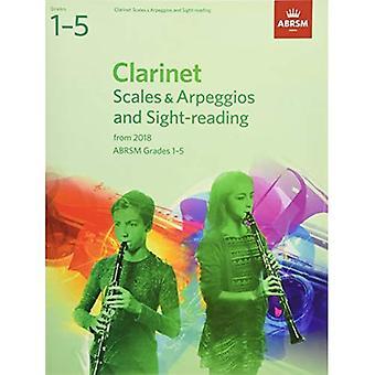 Klarinett skalor & arpeggion och Sight-läsning, ABRSM årskurs 1-5: från 2018 - ABRSM Vågar & arpeggion (noter)