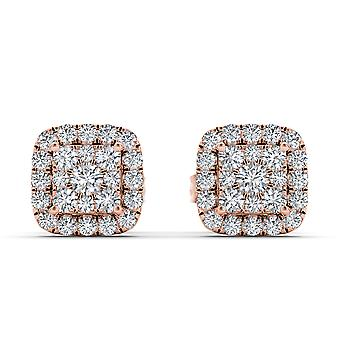 IGI Certified Genuine 10k Rose Gold 0.50 Ct Round Cut Diamond Stud Earrings