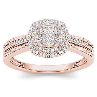 IGI Certified 10k Rose Gold 0.2 Ct Diamond  Cluster Halo Engagement Fashion Ring