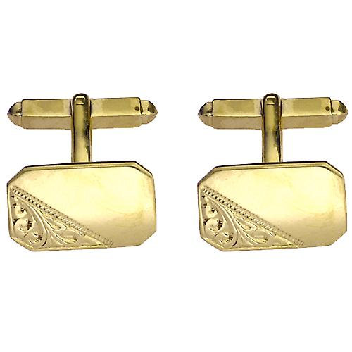 9ct Gold 18x12mm cut corner hand engraved swivel Cufflinks