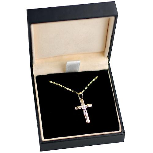 9ct Gold 20x13mm solid block Yellow Cross and White Crucifix with a cable Chain 16 inches Only Suitable for Children