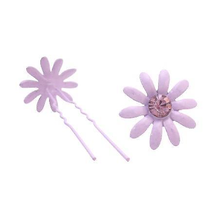 Amethyst Flower Prom Hair Pin w/ Amethyst Crystals Wedding Hair Pin