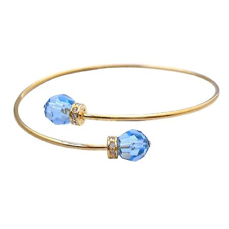 Gold Cuff Bracelet Aquamarine Crystals Affordable Gift Gold Jewelry