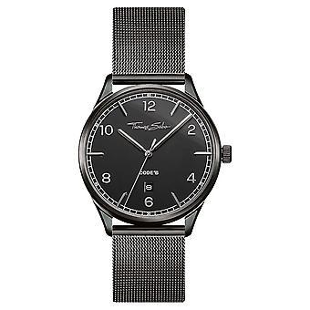 Thomas Sabo | Bracelet maille noir en acier inoxydable | Cadran noir | WA0342-202-203-40