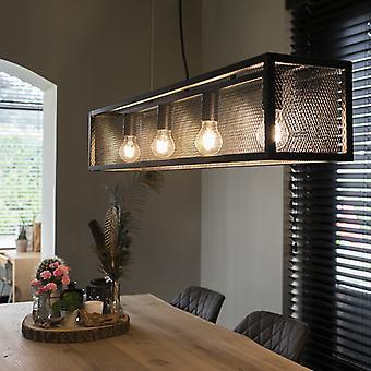 QAZQA Industrial Pendant Lamp 4 with Glass Panel Dark Grey - Cage