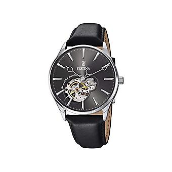 Automatic men's Watch Black Leather strap and black dial analog display Festina F6846/2