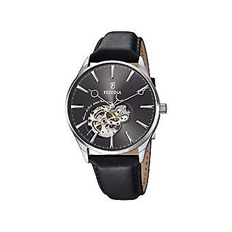 Automatique homme bracelet montre noir en cuir et cadran noir analogique affichage Festina F6846/2