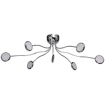 Glasberg - LED Semi-Flush Ceiling Light Chrome And White Finish 609013408