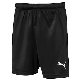 PUMA League s core w letter Jr kids of black and white football shorts