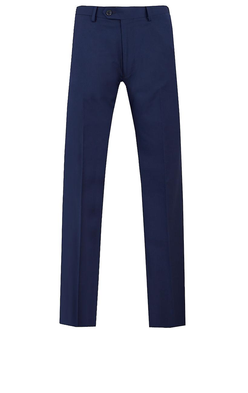 Dobell Mens Dark Blue Suit Trousers Regular Fit