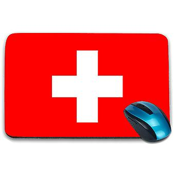 i-Tronixs - Switzerland Flag Printed Design Non-Slip Rectangular Mouse Mat for Office / Home / Gaming - 0170