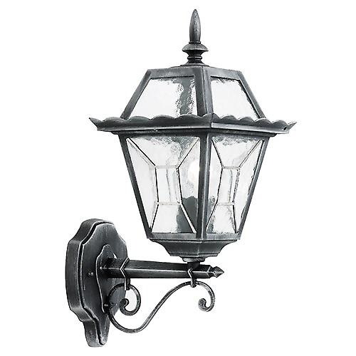 Endon YG-4500 Black Silver Outdoor Up Wall Lantern With Leaded Glass