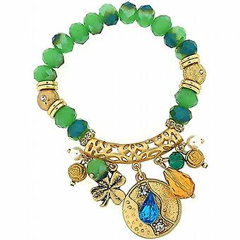 Park Lane Goldtone & Green Beads & Hanging Charms Elasticated Bracelet