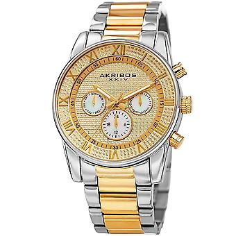 Akribos XXIV Men's Pave Dial Multifunction Stainless Bracelet Watch AK939TTG