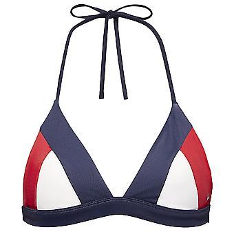 Tommy Hilfiger donne halterneck triangolo retrò Bikini Top, Navy blazer, X-Small