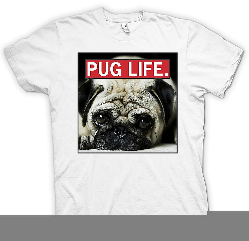 Heren T-shirt - Pug Life - Super Cool en Living The Pug Life